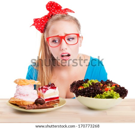 Difficult choice between junk and healthy food, diet dieting concept - stock photo
