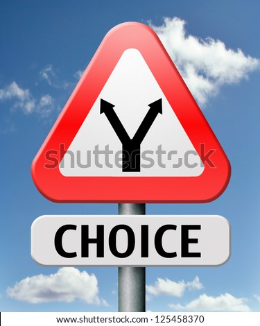 difficult choice choose at crossroads impossible to decide which direction to go decision when you can't choose being doubtful in doubt because of confusion you become insecure indecisive act here now - stock photo