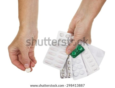 Difficult choice of old people. It is necessary to choose only one tablet which will save life from a set of pills. Isolated concept
