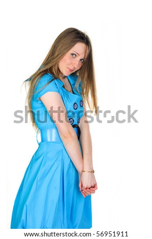 diffident woman in a blue dress