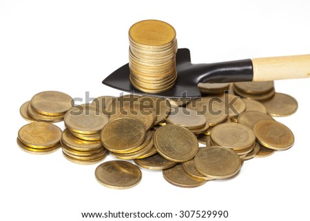 digger a gold coin,business idea ,shallow DOF