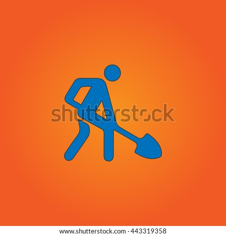 Digging man Blue flat icon with black stroke on orange background. - stock photo