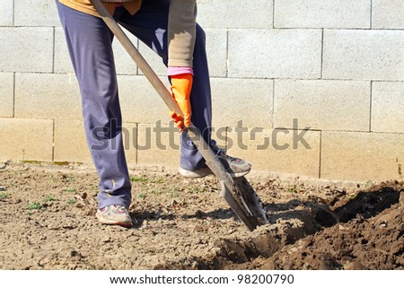 Digging spring soil with shovel. - stock photo