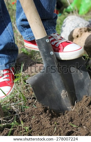 digging the land for planting - stock photo