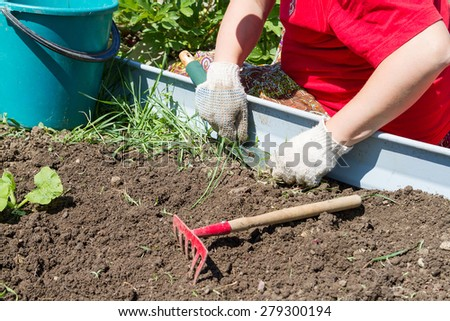 Digging up weeds on the farm, the garden shovel and rake. - stock photo