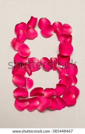 digit arranged by Red rose petals, white background isolated, number 8
