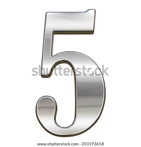 Digit figure five 5 from chrome solid alphabet isolated on white - stock photo