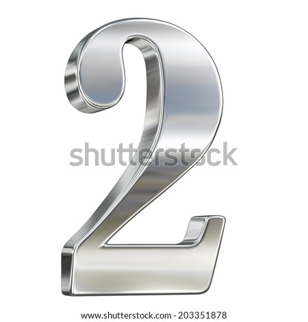 Digit figure one two 2 chrome solid alphabet isolated on white - stock photo