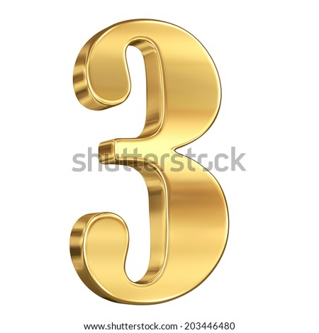 Digit figure three 3 from gold solid alphabet isolated on white
