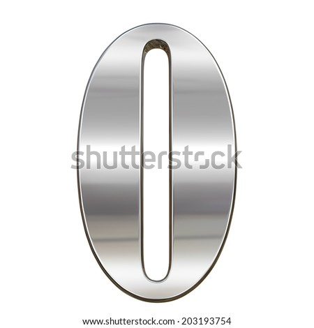 Digit figure zero 0 from chrome solid alphabet isolated on white - stock photo