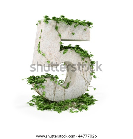 Digit five threads covered with ivy isolated on white background. - stock photo