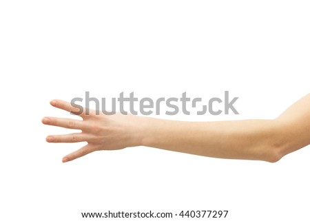 Digit four on sigh language. Isolated man's hand show the number 4