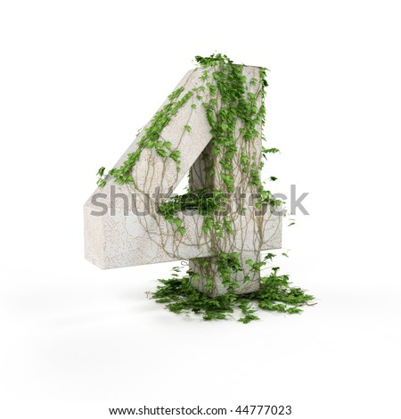 Digit four threads covered with ivy isolated on white background. - stock photo