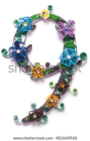 Digit from quilling spring alphabet isolated