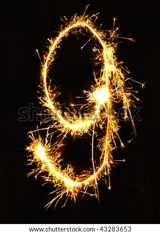 Digit 9 made of sparklers