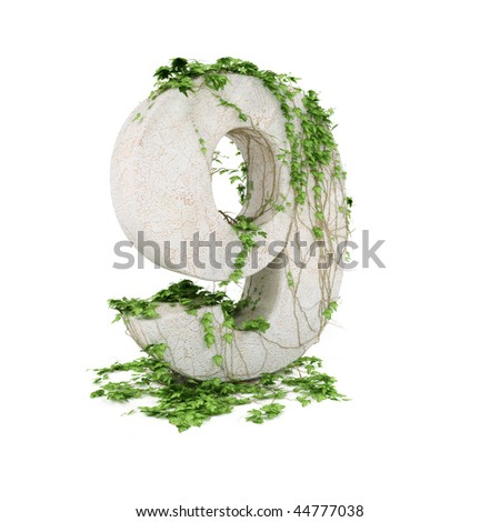 Digit nine threads covered with ivy isolated on white backgro - stock photo