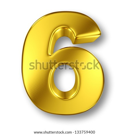 Digit number 6 in gold metal on white - stock photo