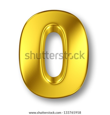 Digit number 0 in gold metal on white - stock photo