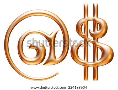 Digit number $ in gold metal on white  - stock photo