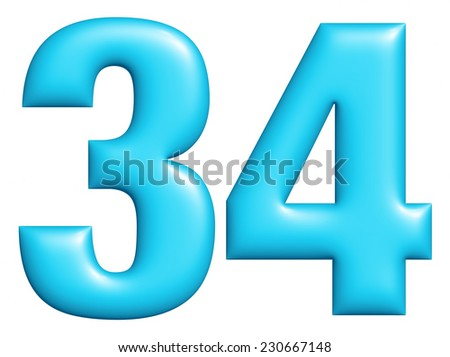 Digit number 3 & 4 isolated on white background  - stock photo