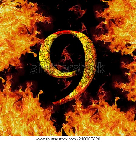 Digit number 9 nine. Fire alphabet letter cracked isolated on black - stock photo
