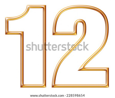 Digit Number 1 & 2 with golden glossy outline on isolated white. - stock photo