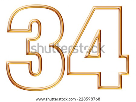 Digit Number 3 & 4 with golden glossy outline on isolated white. - stock photo