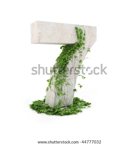 Digit seven threads covered with ivy isolated on white background. - stock photo