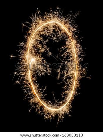 Digit zero made of sparklers  - stock photo