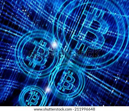 digital abstract background with bit-coin symbol - stock photo