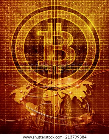 digital abstract background with bitcoin symbol and world map - stock photo