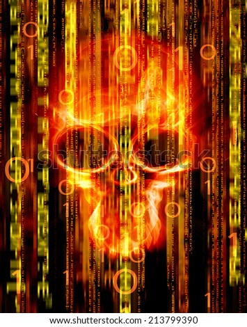 digital abstract background with skull  - stock photo