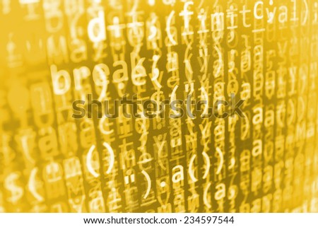 Digital abstract bits data stream, cyber pattern digital background. Yellow, golden orange color. Selective focus (MORE SIMILAR IN MY GALLERY) - stock photo