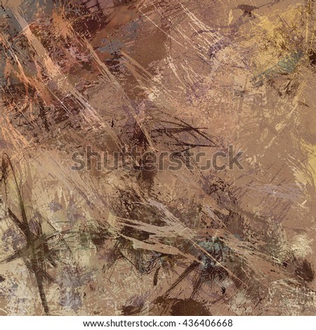 digital abstract expressionism style painting, abstract background design in beige and brown paint spatters and drips on canvas texture - stock photo