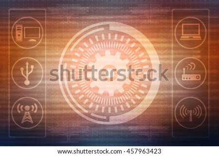 Digital Abstract gear background,2d rendering