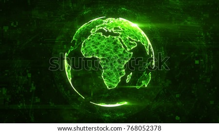 Digital abstract globe made of plexus glowing lines. Business technology structure of the green lines, dots and particles. Africa continent. 3d rendering