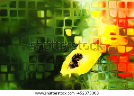 Digital abstract illustration centered around a bee on a poppy flower - stock photo