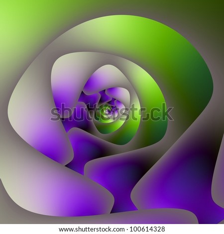 Digital abstract image with a spiral design in green and purple