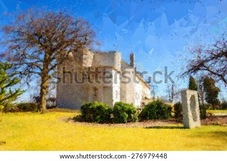 Digital abstract watercolour  from a photograph of the House For An Art Lover, situated within Bellahouston Park, Glasgow, Scotland, UK - stock photo