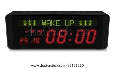 Digital alarm clock with LED display isolated on white background - stock photo