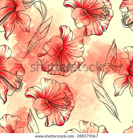 digital and watercolor lilies - seamless pattern