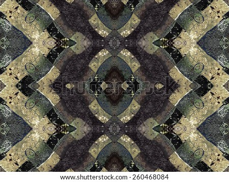 Digital art collage and manipulation technique abstract geometric motif pattern with grunge texture background in cold tones. - stock photo