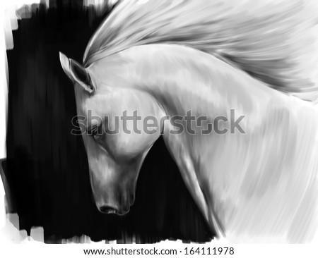 digital art imitation of oil painting - running white horse against black background - stock photo