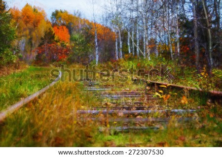 Digital art, paint effect, Railroad tracks curving through a forest Autumn season