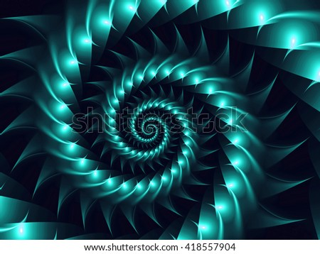 Digital Art Psychedelic Turquoise Fractal Spiral Background
