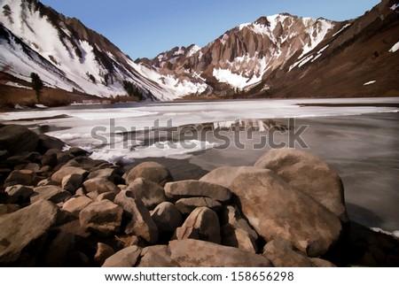 Digital Art Rendering of Convict Lake in the Eastern Sierra Foothills - stock photo