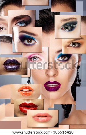 Digital Art. Set of Women's Faces with Colorful Makeup - stock photo