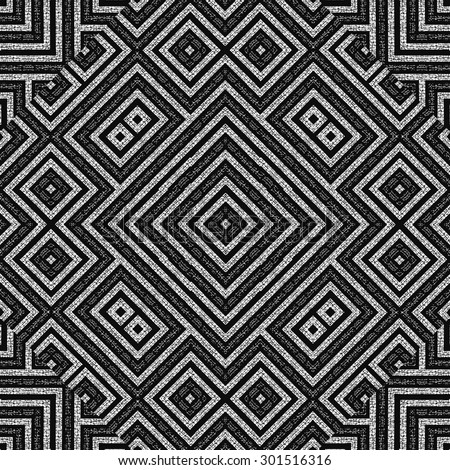 Digital art technique modern ethnic geometric abstract pattern mosaic design in black and white tones