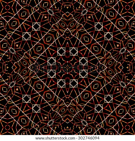 Digital art technique modern geometric abstract decorative intricate seamless pattern mosaic design in warm and black and white colors. - stock photo