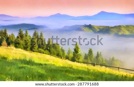 Digital artwork in watercolor painting style. Beautiful spring landscape in the mountains - stock photo